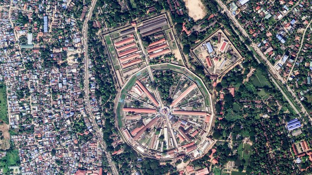 A Nov. 30, 2020, satellite image of Yangon's Insein Prison, which for decades has been the main center of detention for Myanmar's political prisoners.