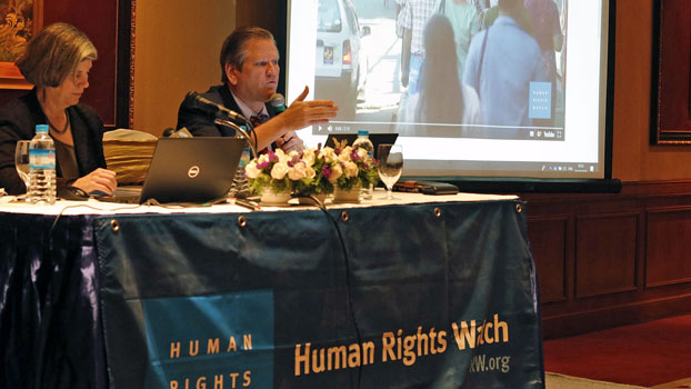 Linda Lakhdhir (L), Asia legal advisor for Human Rights Watch, and Phil Robertson (R), deputy director of the group's Asia division, hold a press conference in Myanmar's commercial hub Yangon, Feb. 1, 2019.