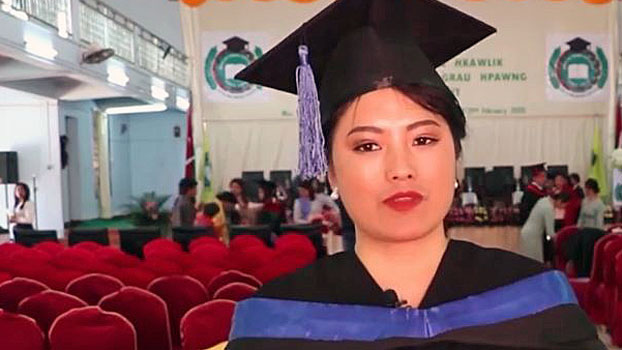 Kachin student Bauk Pan attends the commencement ceremony of the first graduating class at Mai Ja Yang National College in the border town of Mai Ja Yang, northern Myanmar's Kachin state, Feb. 29, 2020.