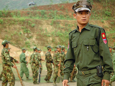 A Kachin independence Army sergeant observes recruits at a training camp outside Laiza, a KIA-controlled stronghold in Myanmar's northern Kachin state on the border with China, in a file photo.