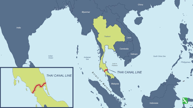 The Thai Canal proposal would involve construction along what's called the 9A route, which cuts across five southern provinces.