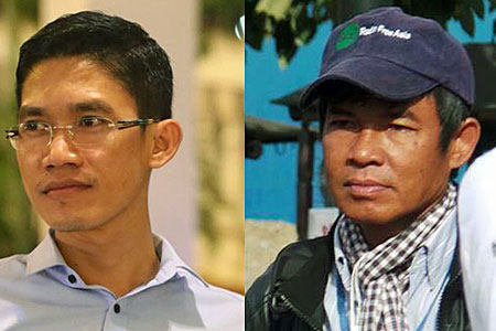 Former RFA journalists Yeang Sothearin (L) and Uon Chhin (R), in undated photos.