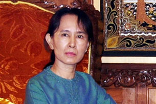 Aung San Suu Kyi during a meeting with Burma's labor minister, Jan. 30, 2008.