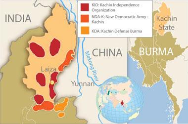 A detail of Kachin State in northern Burma. Credit: RFA