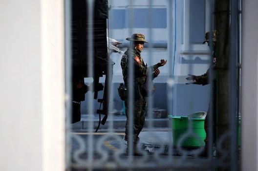 Myanmar soldiers are seen inside City Hall in Yangon, Myanmar February 1, 2021. REUTERS/Stringer