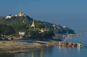 Pagodas overlook the Irrawaddy river in Burma's Sagaing region, May 16, 2012.