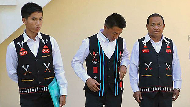 Saw Htein (L), Kyaw Wan Sein (C), and An Kam (R) of the National Socialist Council of Nagaland-Khaplang (NSCN-K) in Myanmar, December 2017.