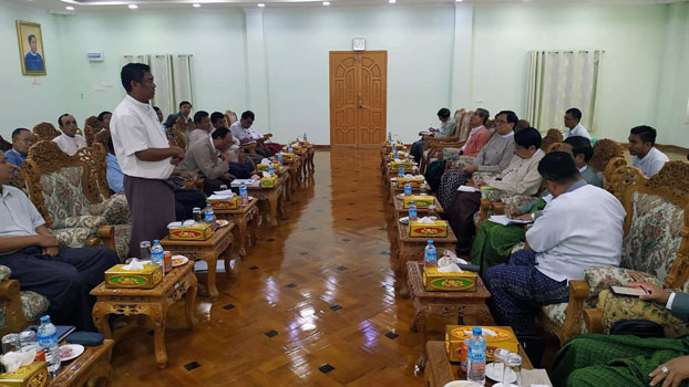 Rakhine state lawmakers meet with members of the Rakhine State Peace and Stability Supporting Committee to discuss measures for peace and stability in the troubled state, in Sittwe, western Myanmar's Rakhine state, April 10, 2019.