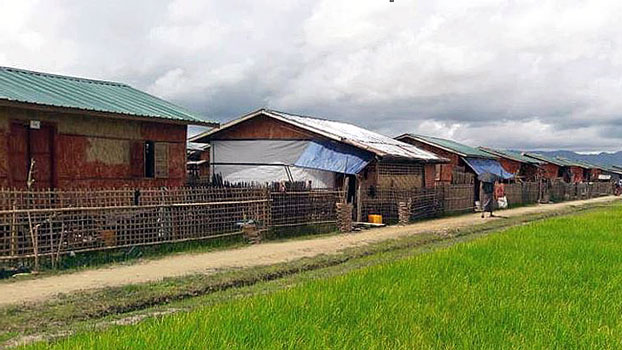 New homes built for Rohingya IDPs are seen in Nidin village in Kyauktaw township, western Myanmar's Rakhine state, July 15, 2018.