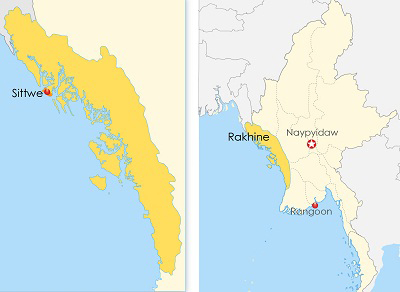 The map shows Rakhine state in western Myanmar. Credit: RFA graphic