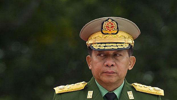 Senior General Min Aung Hlaing, commander-in-chief of Myanmar's armed forces, attends a ceremony commemorating Martyrs' Day in Yangon, July 19, 2018.