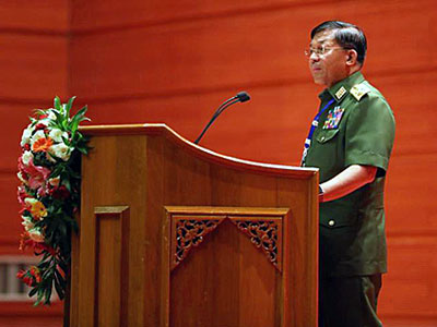 Senior General Min Aung Hlaing, commander-in-chief of Myanmar's armed forces, gives a speech during the opening ceremony of the second session of the 21st Century Panglong Conference in Naypyidaw, May 24, 2017.
