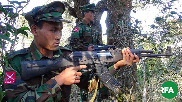 Soldiers from the Ta'ang National Liberation Army aim their rifles in Myanmar's northern Shan state in an undated photo.