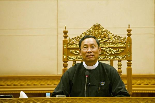 myanmar-shwe-mann-addresses-parliament-jan29-2016.jpg