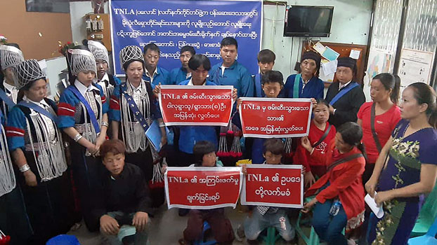 Members of the Kholon Lishaw ethnic minority group from the Pansay area of Namhkam township in Myanmar's northern Shan state hold a press conference in Mandalay, March 13, 2019.