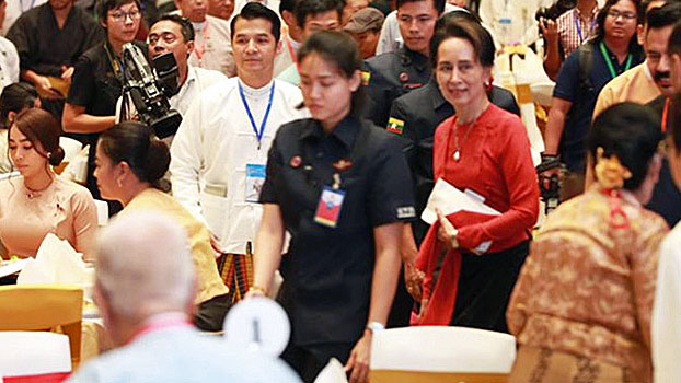 Myanmar State Counselor Aung San Suu Kyi attends the opening ceremony of a film about General Aung San at the Novotel Hotel in Yangon, Sept. 24, 2019.
