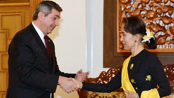 Stavros Lambrinidis (L), the European Union's special representative for human rights, meets Myanmar State Counselor Aung San Suu Kyi in Naypyidaw, March 5, 2018.