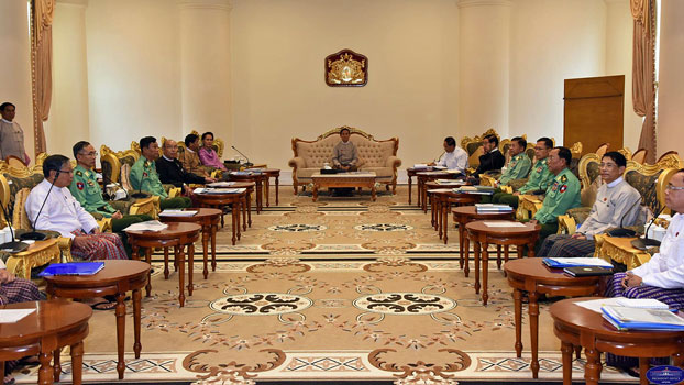 Myanmar military and government leaders attend a meeting to discuss national security at the Presidential Palace in Naypyidaw, Jan. 7, 2019.