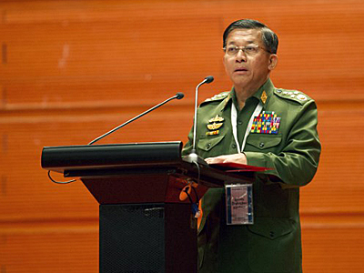 Senior General Min Aung Hlaing, commander-in-chief of Myanmar's armed forces, delivers a speech at a government peace conference in Naypyidaw, Jan. 12, 2016. Credit: AFP