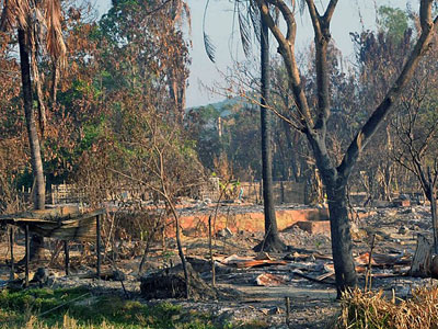 A view of the burned remains of Gwazon, a Muslim-majority village in Maungdaw township, western Myanmar's Rakhine state, Dec. 12, 2016.