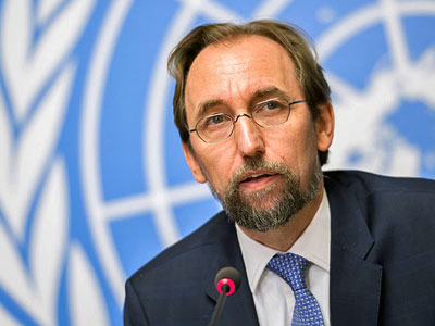 Zeid Ra'ad Al Hussein, the United Nations high commissioner for human rights, delivers a speech during a press conference at the U.N. offices in Geneva, Aug. 30, 2017.