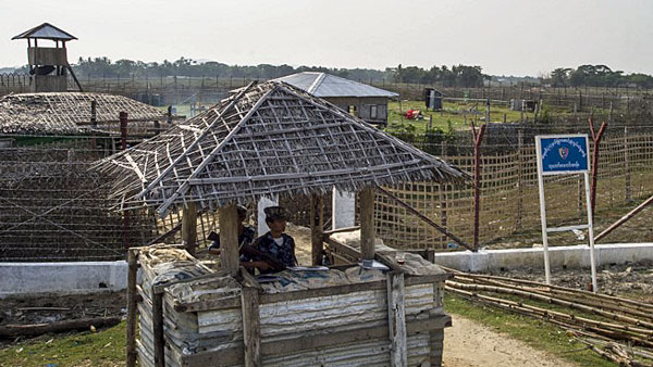 Myanmar border police secure a police outpost near a refugee processing camp for Rohingya Muslims near the border with Bangladesh in Maungdaw township, western Myanmar's Rakhine state, April 24, 2018.