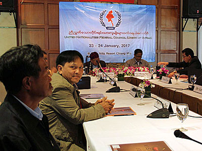 Members of the central executive committee of Myanmar's United Nationalities Federal Council (UNFC) hold a meeting in Chiang Mai, Thailand, Jan. 23, 2017.