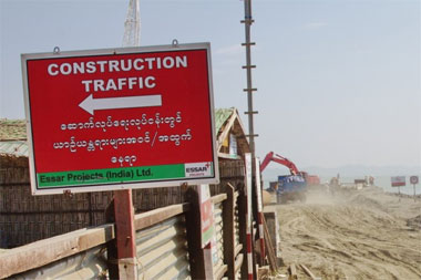 <em>A sign announces India's Essar Projects as the contractor building a port and two jetties at Sittwe, in western Burma in Oct, 2011. Photo: Tyler Chapman</em>
