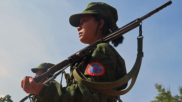An Arakan Army soldier participates in a drill at an undisclosed location in an undated photo.