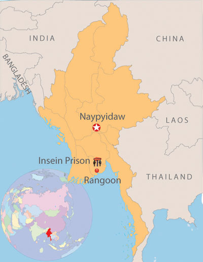 Map showing the key Insein prison.  Graphic: RFA