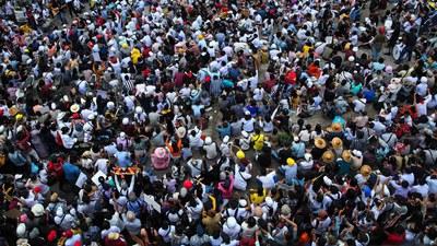 Anti-junta protesters participate in a rally against Myanmar's military regime at Hledan junction in Yangon, Feb. 25, 2021.