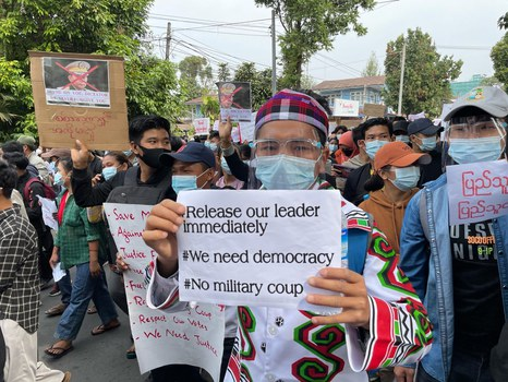 Protesters join in a demonstration against the military coup in the Kachin state capital Myitkyina, Feb. 8, 2021.