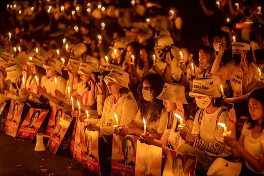 Supporters and well wishers hold a candlelight vigil for two protesters killed and dozens reported injured when riot police in Mandalay fired on protesters, Yangon, Myanmar. Feb. 20, 2021. Credit: Myanmar Celebrity TV Club 1