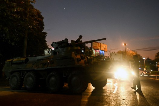 A tank vehicle is deployed on a city street, following days of mass protests against the military coup, in Yangon, Feb. 14, 2021. Credit: AFP