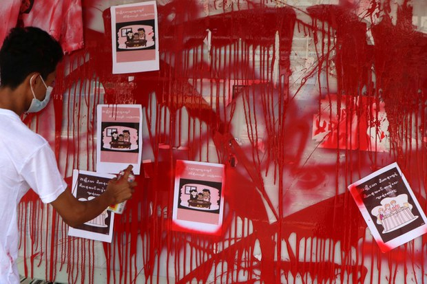 Am anti-coup red paint protest for Burmese New Year in  Kamayut township of Yangon, April 14, 2021.