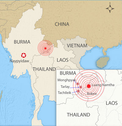 The earthquake's epicenter was located in eastern Burma near the border with Thailand and Laos. Credit: RFA