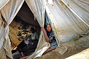 A Rohingya woman at a camp for displaced persons on the outskirts of Sittwe, Nov. 2, 2012.