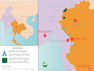 A map showing the location of Karen and Karenni refugee camps in Thailand. Graphic: RFA