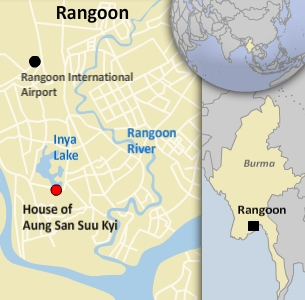 Map showing Aung San Suu Kyi's residence in Rangoon- Graphic: RFA