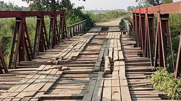 The wooden bridge in Rakhine state's Maungdaw township that was the focus of a brief report that landed DMG reporter Aung Kyaw Min in court under controversial Article 66 (d) of Myanmar's Telecommunications Law.
