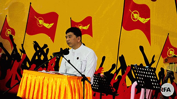 Min Ko Naing, a Myanmar democracy activist and 88 Generation Students Group cofounder, speaks at a ceremony commemorating the 30th anniversary of an uprising against a former military junta, at Yangon University in Yangon, Aug. 8, 2018.