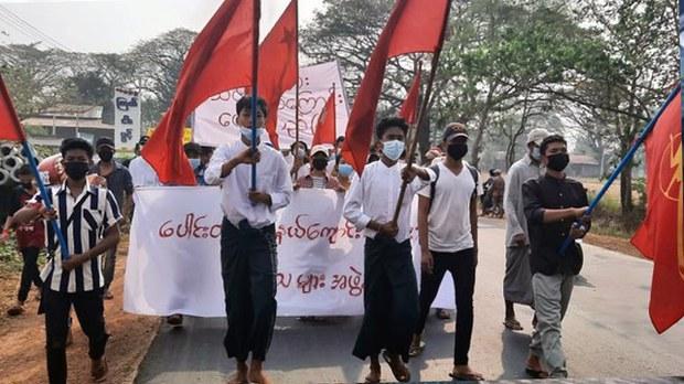 Students demonstrate in Pegu region's Paungde township, Feb. 19, 2021. Citizen journalist