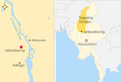 The map shows Letpadaung in Sagaing division in northwestern Myanmar.