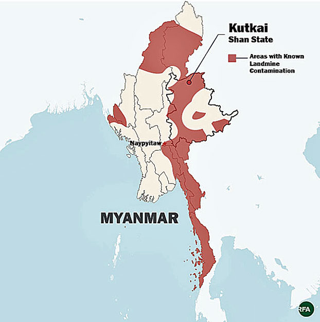 The map shows areas in Myanmar with known contamination by landmines, unexploded ordnance, and other explosives.