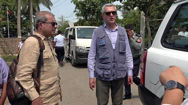UN High Commissioner for Refugees Filippo Grandi (C) visits Sittwe, capital of western Myanmar's Rakhine state, May 22, 2019.