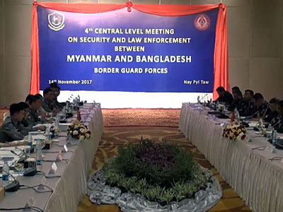 The Myanmar Police Force and Border Guard Bangladesh hold a conference to discuss border security in Myanmar's capital Naypyidaw, Nov. 14, 2017.