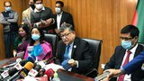 Bangladesh foreign secretary Masud Bin Momen (center) briefs reporters in Dhaka after a virtual meeting with China and Myanmar on Rohingya repatriation, Jan. 19, 2021.