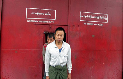 A political prisoner walks out of a jail following his release in Sagaing division, Oct. 8, 2013. Credit: AFP