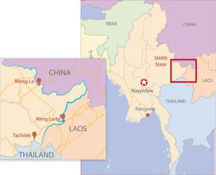 Map showing the key illicit big cat trading centers along Burma's borders. RFA