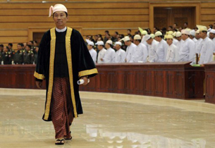 Speaker of the Lower House Shwe Mann attends the opening of parliament in Naypyidaw, July 4, 2012.